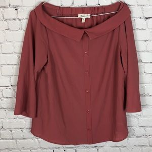 Monteau Dusty Pink Wide Neck Blouse Size Large